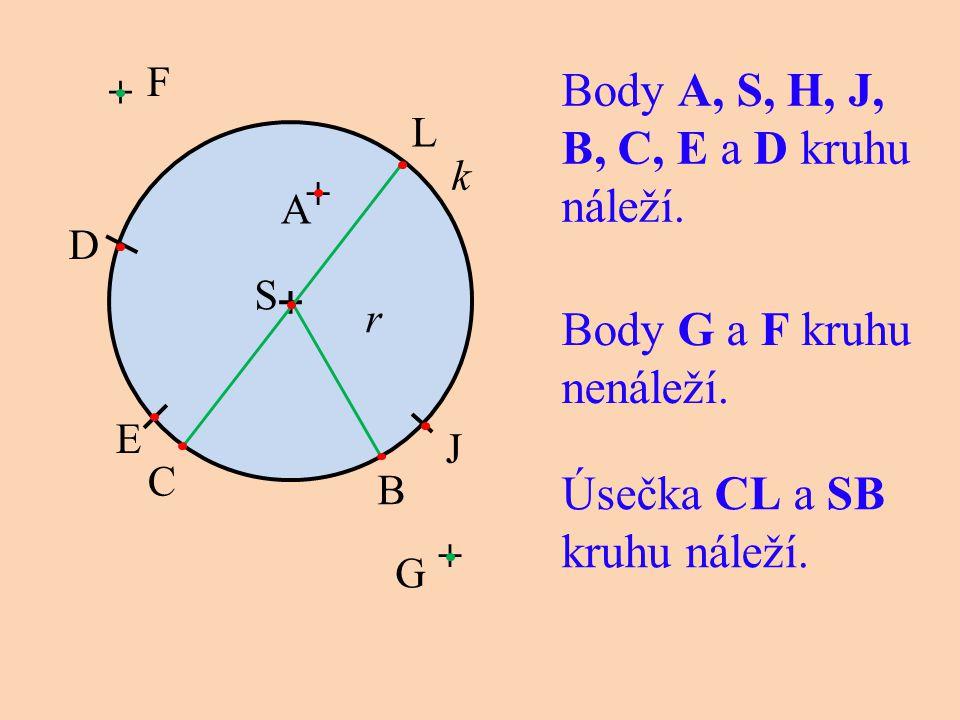 Body A, S, H, J, B, C, E a D kruhu náleží. + k A r Body G a F kruhu nenáleží. + Úsečka CL a SB kruhu náleží. B J L D E C S G + F +