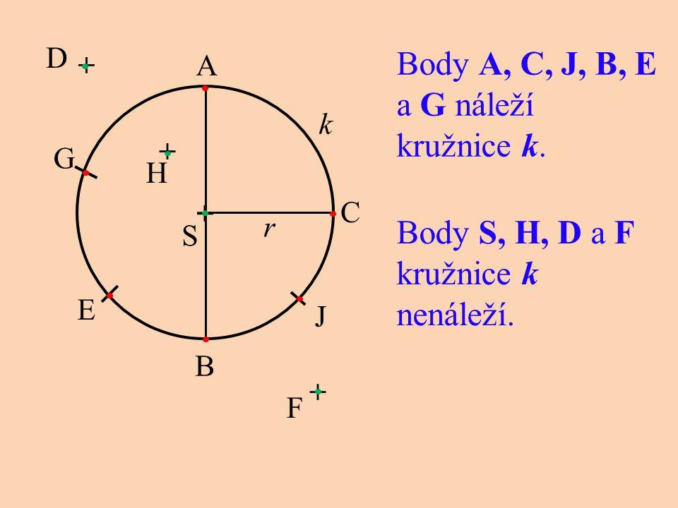 Body A, C, J, B, E a G náleží kružnice k. + k r Body S, H, D a F kružnice k nenáleží. C G E B A J S F + H + D +