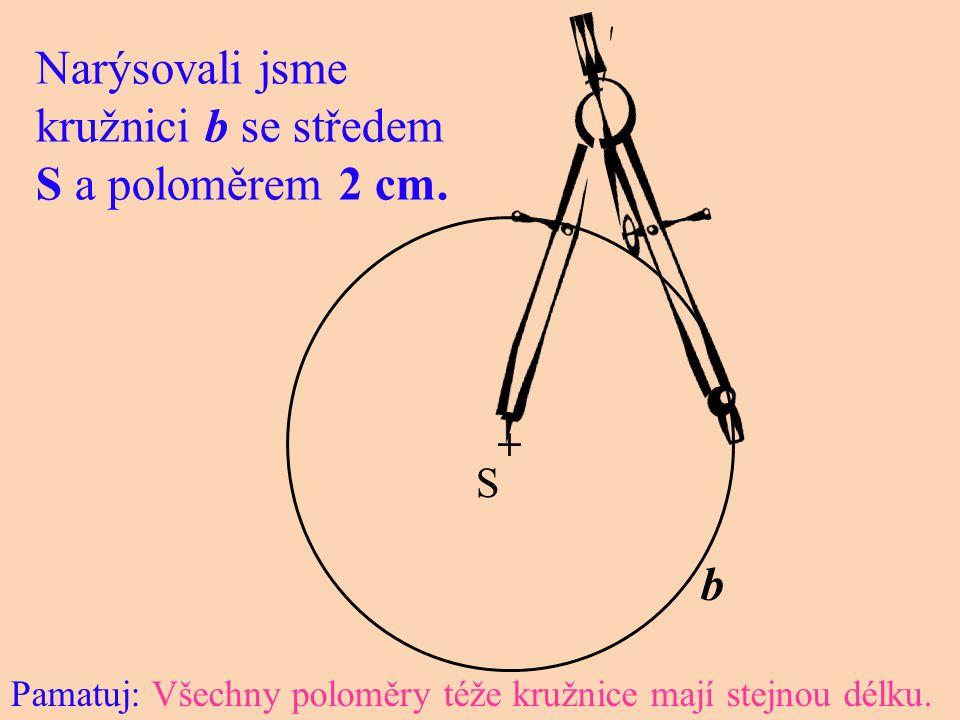 + S b Narýsovali jsme kružnici b se středem S a poloměrem 2 cm. Pamatuj: Všechny poloměry téže kružnice mají stejnou délku.