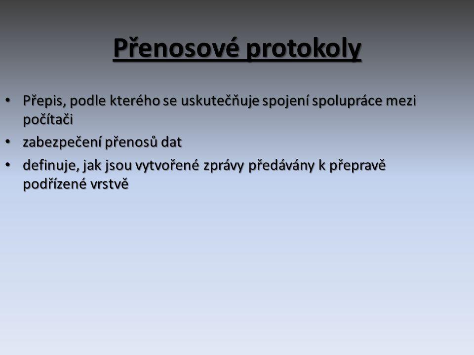 Přenosové protokoly • Přepis, podle kterého se uskutečňuje spojení spolupráce mezi počítači • zabezpečení přenosů dat • definuje, jak jsou vytvořené zprávy předávány k přepravě podřízené vrstvě