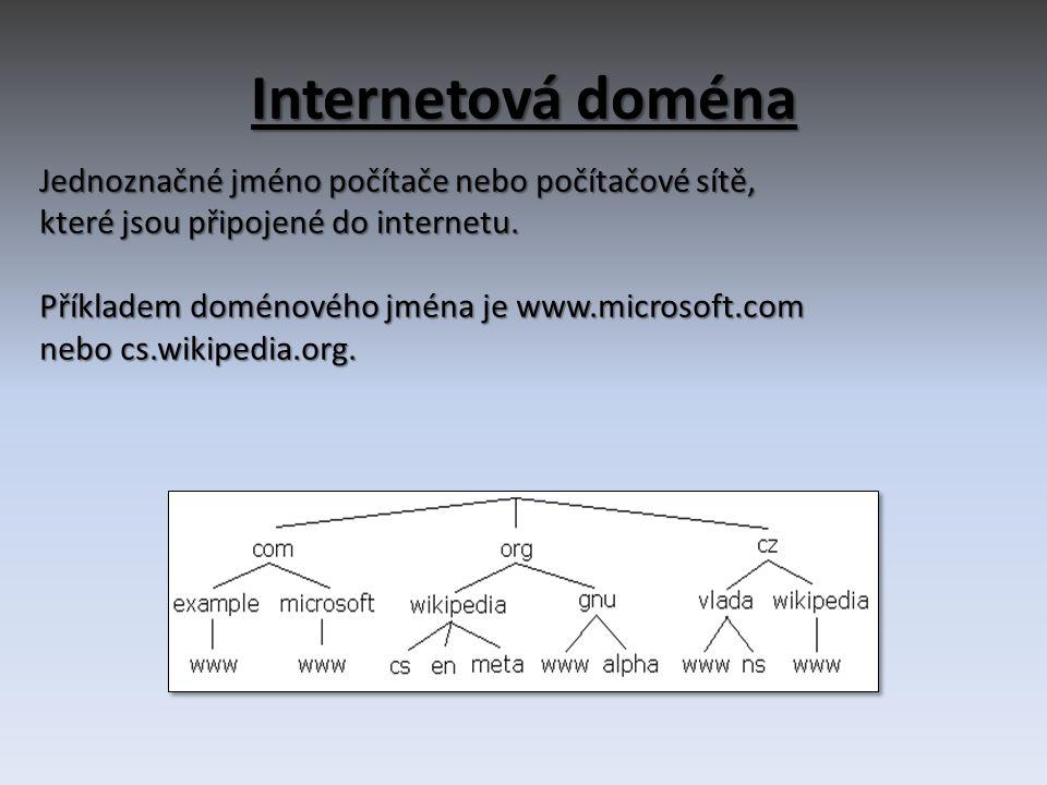 Webový prohlížeč • počítačový program, který slouží k prohlížení World Wide Webu (WWW) • Komunikace s HTTP serverem a zpracování kódu (HTML, XHTML, XML apod.) • Příklady: Internet Explorer Mozilla Firefox Safari Google Chrome Opera