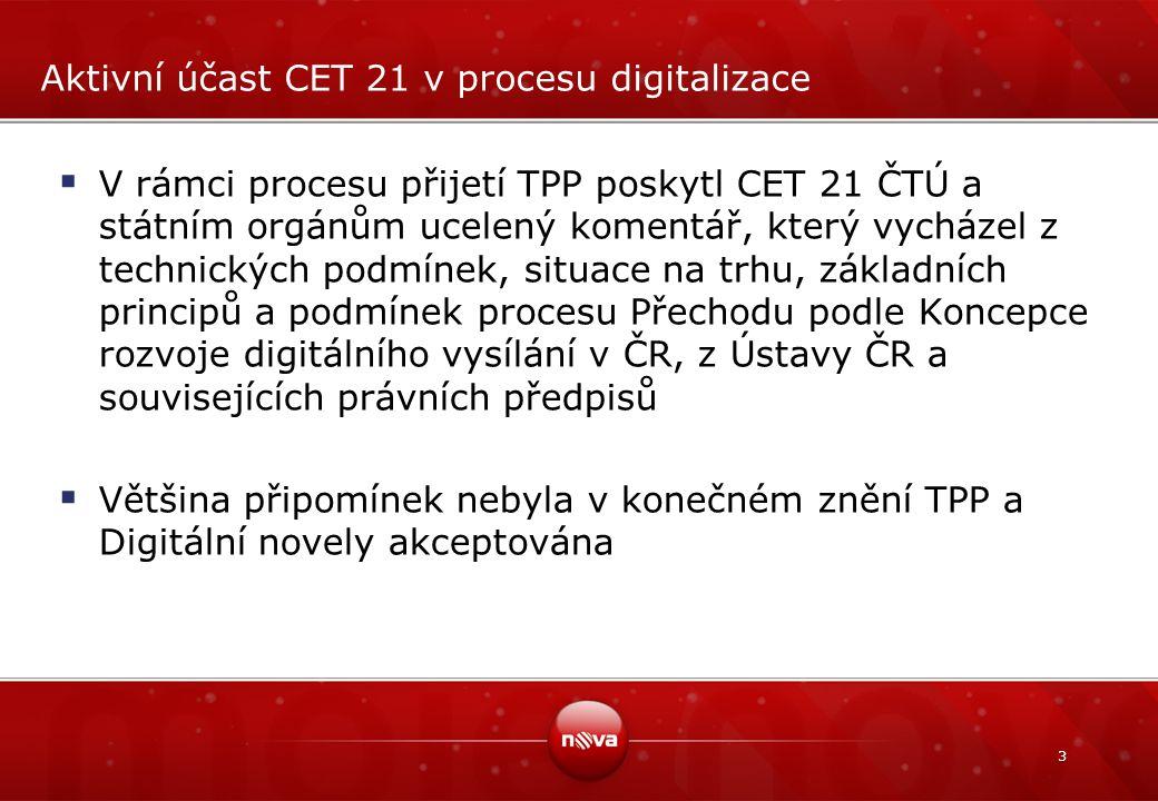 3 Aktivní účast CET 21 v procesu digitalizace  V rámci procesu přijetí TPP poskytl CET 21 ČTÚ a státním orgánům ucelený komentář, který vycházel z technických podmínek, situace na trhu, základních principů a podmínek procesu Přechodu podle Koncepce rozvoje digitálního vysílání v ČR, z Ústavy ČR a souvisejících právních předpisů  Většina připomínek nebyla v konečném znění TPP a Digitální novely akceptována