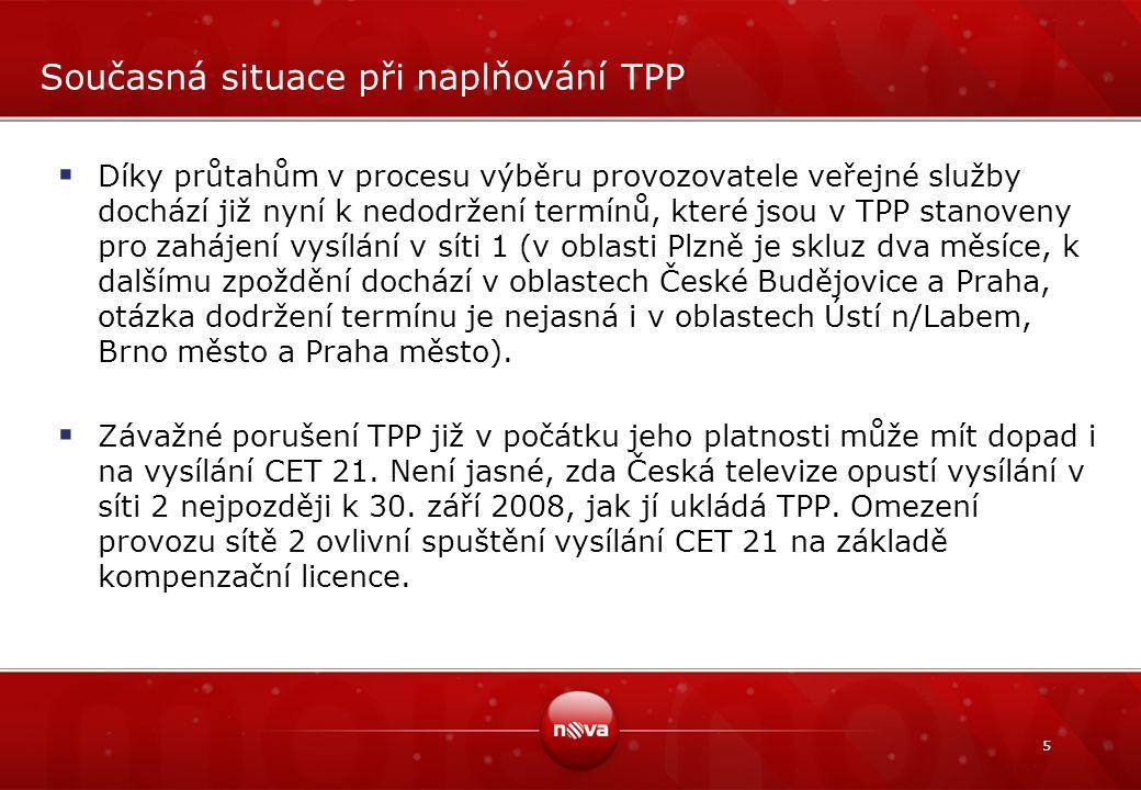 5 Současná situace při naplňování TPP  Díky průtahům v procesu výběru provozovatele veřejné služby dochází již nyní k nedodržení termínů, které jsou