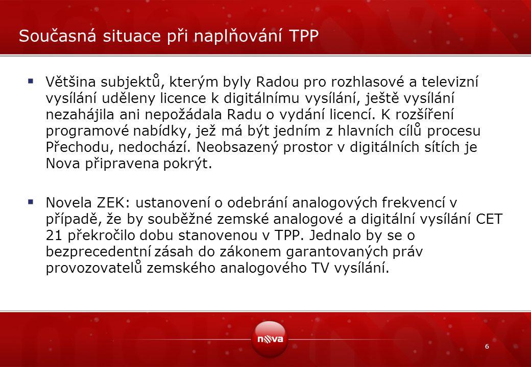 6 Současná situace při naplňování TPP  Většina subjektů, kterým byly Radou pro rozhlasové a televizní vysílání uděleny licence k digitálnímu vysílání, ještě vysílání nezahájila ani nepožádala Radu o vydání licencí.