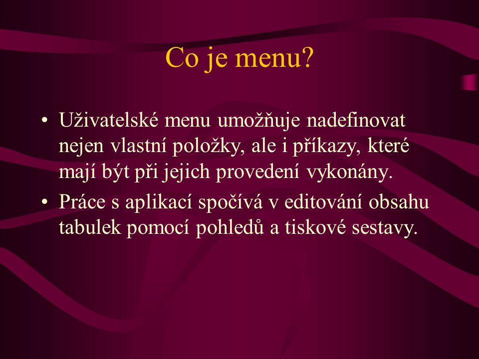 Co je menu? •Uživatelské menu umožňuje nadefinovat nejen vlastní položky, ale i příkazy, které mají být při jejich provedení vykonány. •Práce s aplika