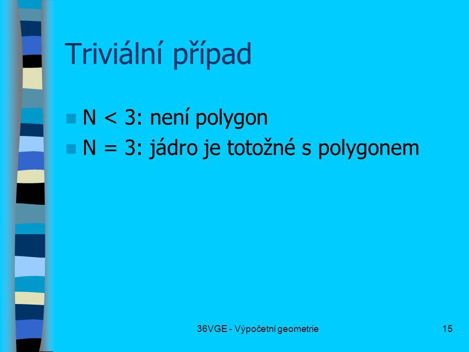36VGE - Výpočetní geometrie15 Triviální případ  N < 3: není polygon  N = 3: jádro je totožné s polygonem
