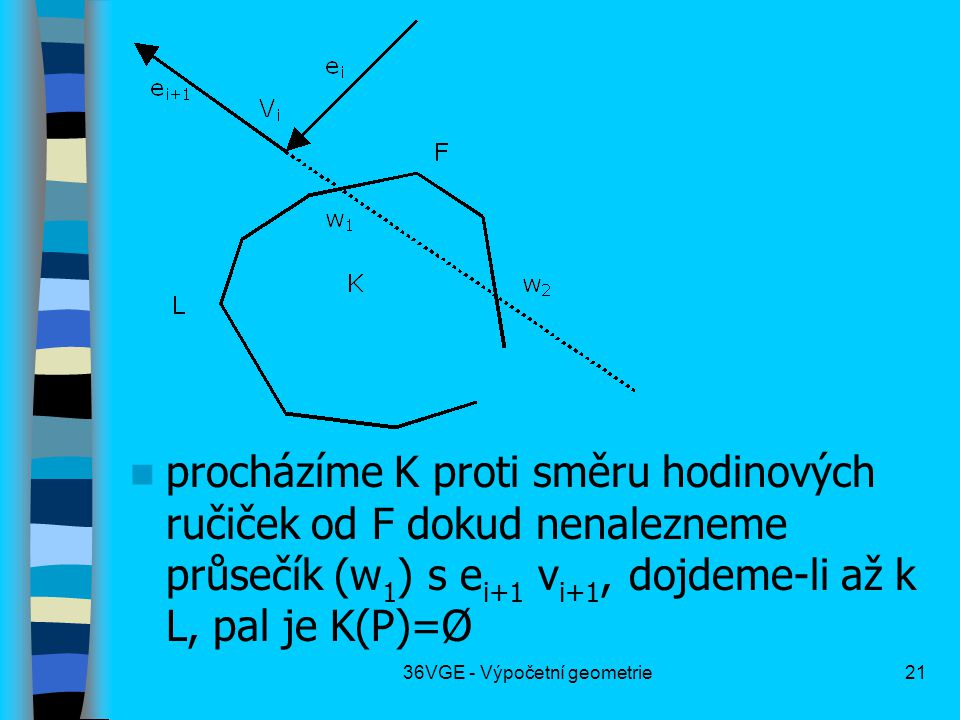 36VGE - Výpočetní geometrie21  procházíme K proti směru hodinových ručiček od F dokud nenalezneme průsečík (w 1 ) s e i+1 v i+1, dojdeme-li až k L, p