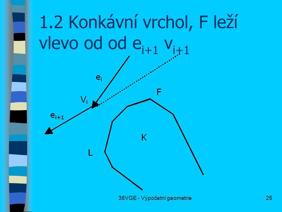 36VGE - Výpočetní geometrie25 1.2 Konkávní vrchol, F leží vlevo od od e i+1 v i+1