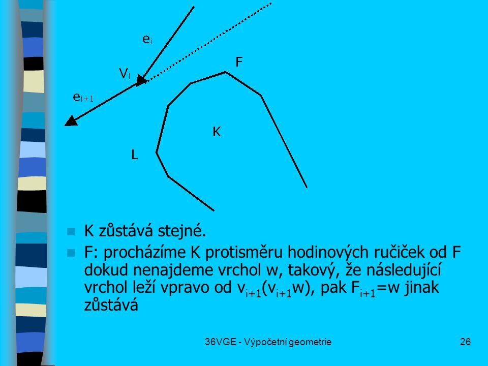 36VGE - Výpočetní geometrie26  K zůstává stejné.  F: procházíme K protisměru hodinových ručiček od F dokud nenajdeme vrchol w, takový, že následujíc