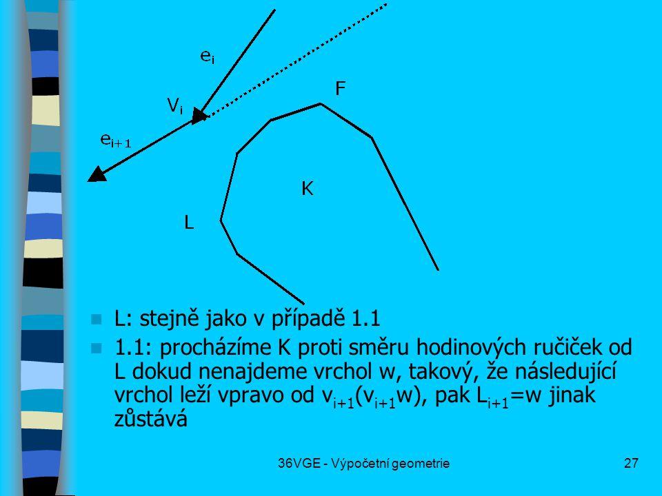 36VGE - Výpočetní geometrie27  L: stejně jako v případě 1.1  1.1: procházíme K proti směru hodinových ručiček od L dokud nenajdeme vrchol w, takový, že následující vrchol leží vpravo od v i+1 (v i+1 w), pak L i+1 =w jinak zůstává