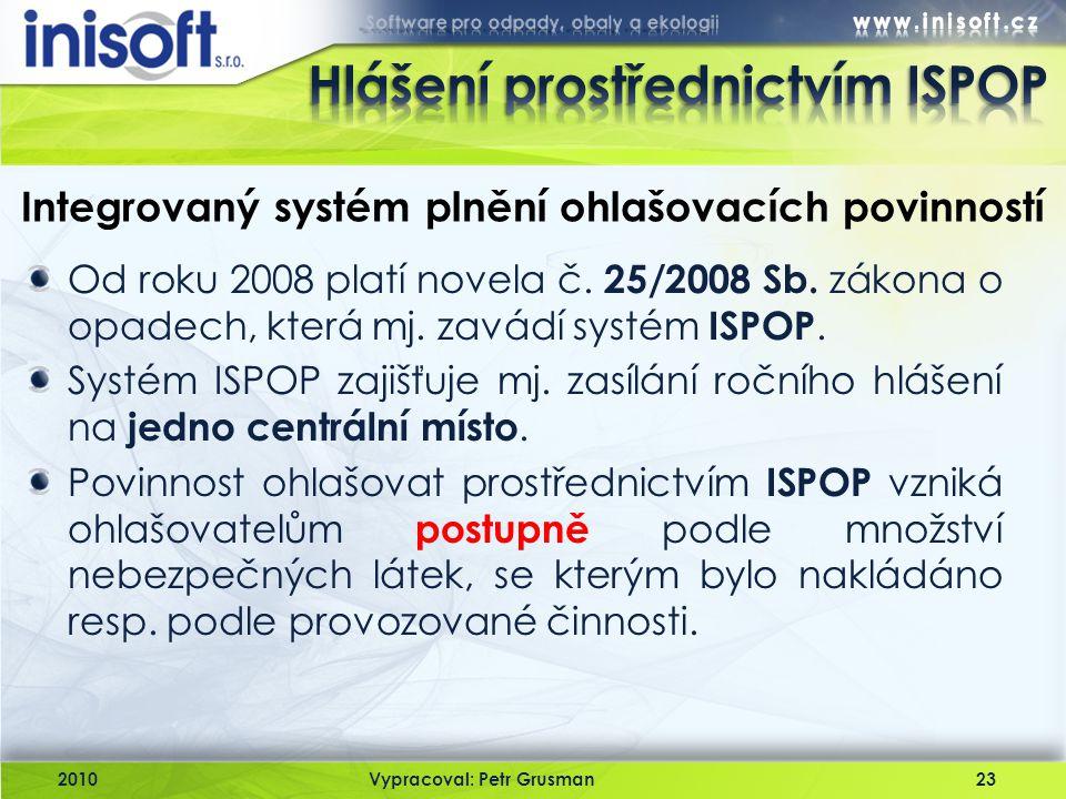 2010Vypracoval: Petr Grusman23 Integrovaný systém plnění ohlašovacích povinností Od roku 2008 platí novela č. 25/2008 Sb. zákona o opadech, která mj.