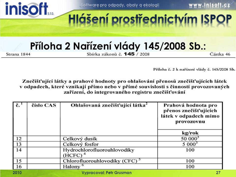 2010Vypracoval: Petr Grusman27 Příloha 2 Nařízení vlády 145/2008 Sb.: