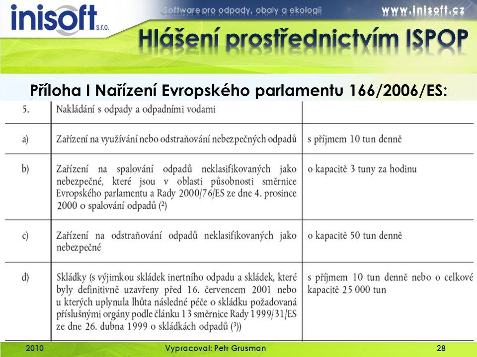 2010Vypracoval: Petr Grusman28 Příloha I Nařízení Evropského parlamentu 166/2006/ES: