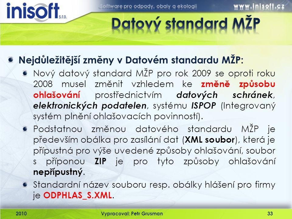 2010Vypracoval: Petr Grusman33 Nejdůležitější změny v Datovém standardu MŽP: Nový datový standard MŽP pro rok 2009 se oproti roku 2008 musel změnit vz
