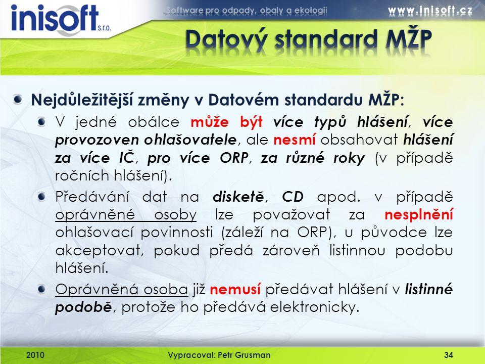 2010Vypracoval: Petr Grusman34 Nejdůležitější změny v Datovém standardu MŽP: V jedné obálce může být více typů hlášení, více provozoven ohlašovatele,