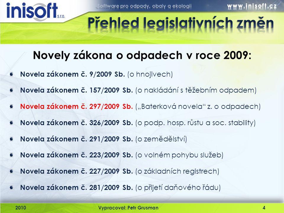 """Novela zákonem č. 9/2009 Sb. (o hnojivech) Novela zákonem č. 157/2009 Sb. (o nakládání s těžebním odpadem) Novela zákonem č. 297/2009 Sb. (""""Baterková"""