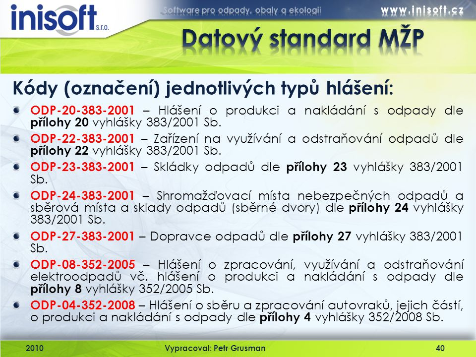 2010Vypracoval: Petr Grusman40 Kódy (označení) jednotlivých typů hlášení: ODP-20-383-2001 – Hlášení o produkci a nakládání s odpady dle přílohy 20 vyh