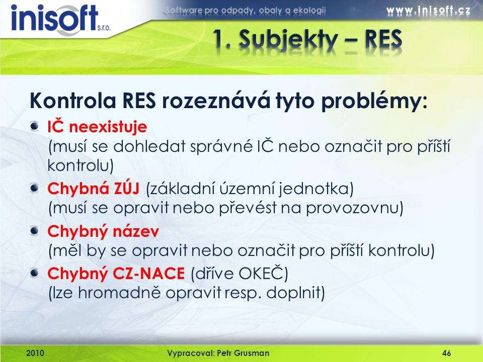 2010Vypracoval: Petr Grusman46 Kontrola RES rozeznává tyto problémy: IČ neexistuje (musí se dohledat správné IČ nebo označit pro příští kontrolu) Chyb
