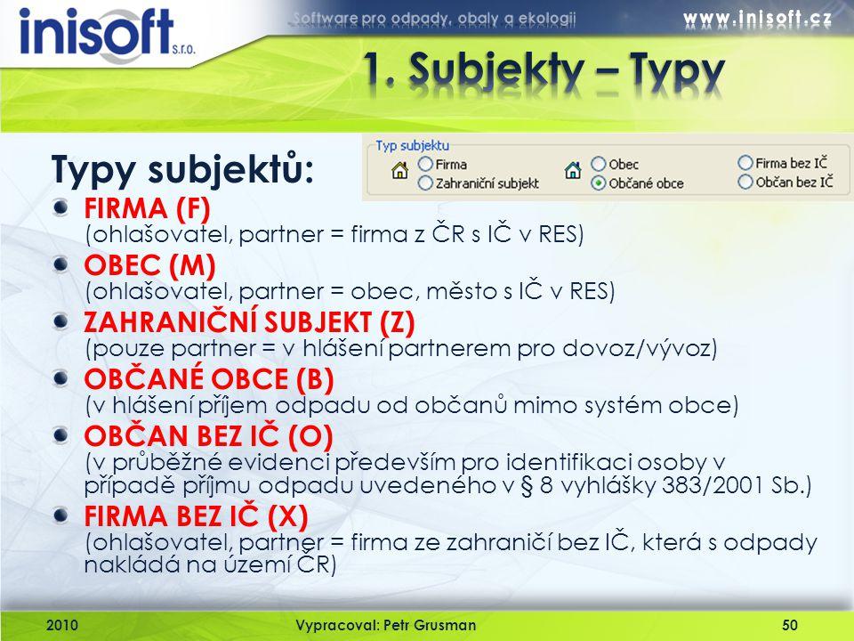 2010Vypracoval: Petr Grusman50 Typy subjektů: FIRMA (F) (ohlašovatel, partner = firma z ČR s IČ v RES) OBEC (M) (ohlašovatel, partner = obec, město s