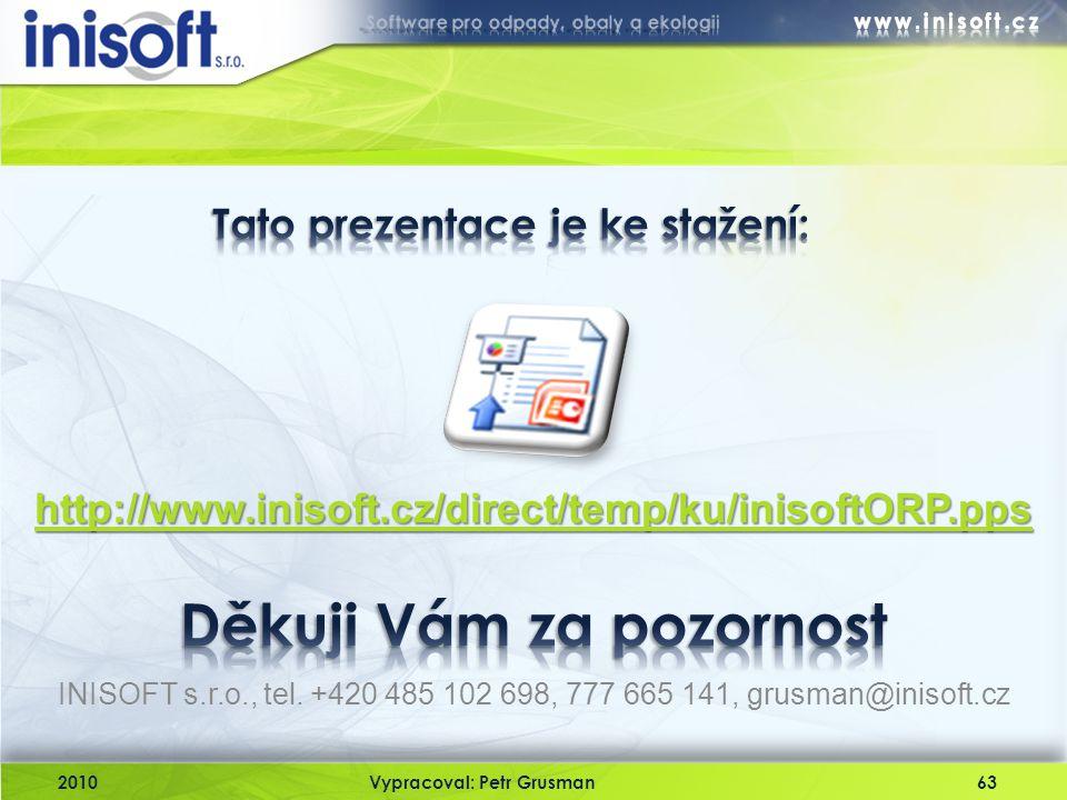 INISOFT s.r.o., tel. +420 485 102 698, 777 665 141, grusman@inisoft.cz 2010Vypracoval: Petr Grusman63 http://www.inisoft.cz/direct/temp/ku/inisoftORP.