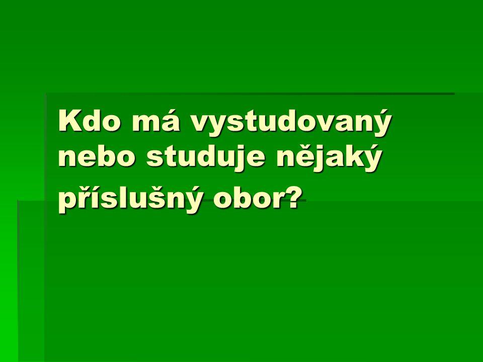 Kdo má vystudovaný nebo studuje nějaký příslušný obor?