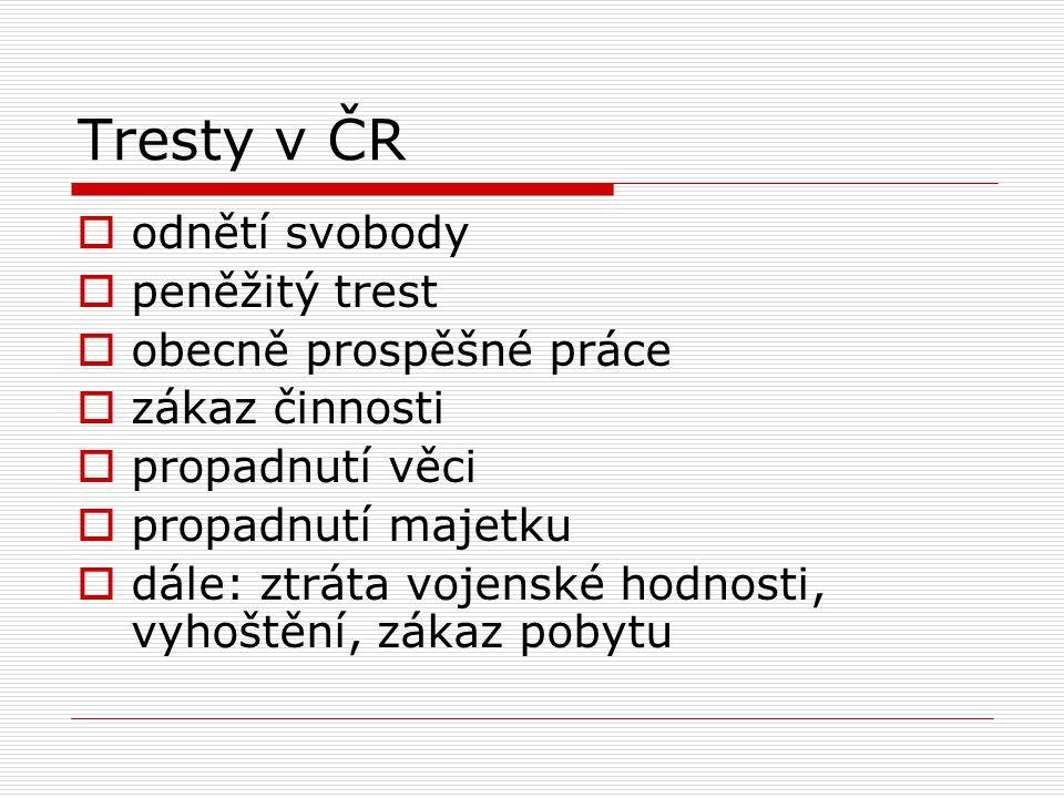 Tresty v ČR  odnětí svobody  peněžitý trest  obecně prospěšné práce  zákaz činnosti  propadnutí věci  propadnutí majetku  dále: ztráta vojenské