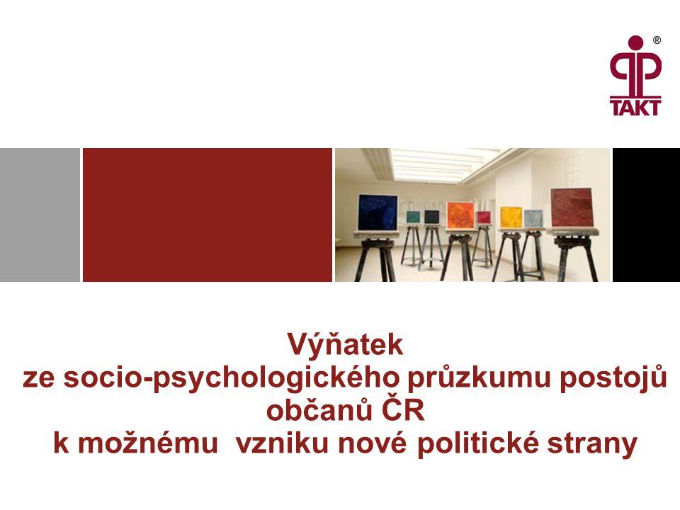 Výňatek ze socio-psychologického průzkumu postojů občanů ČR k možnému vzniku nové politické strany