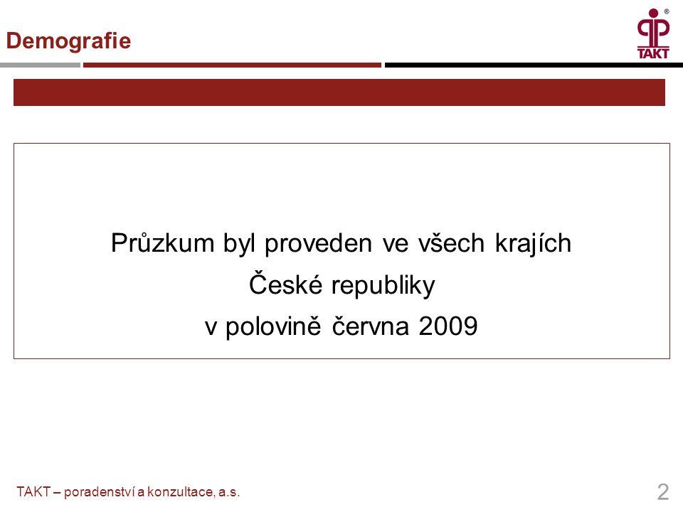 Průzkum byl proveden ve všech krajích České republiky v polovině června 2009 2 TAKT – poradenství a konzultace, a.s. Demografie