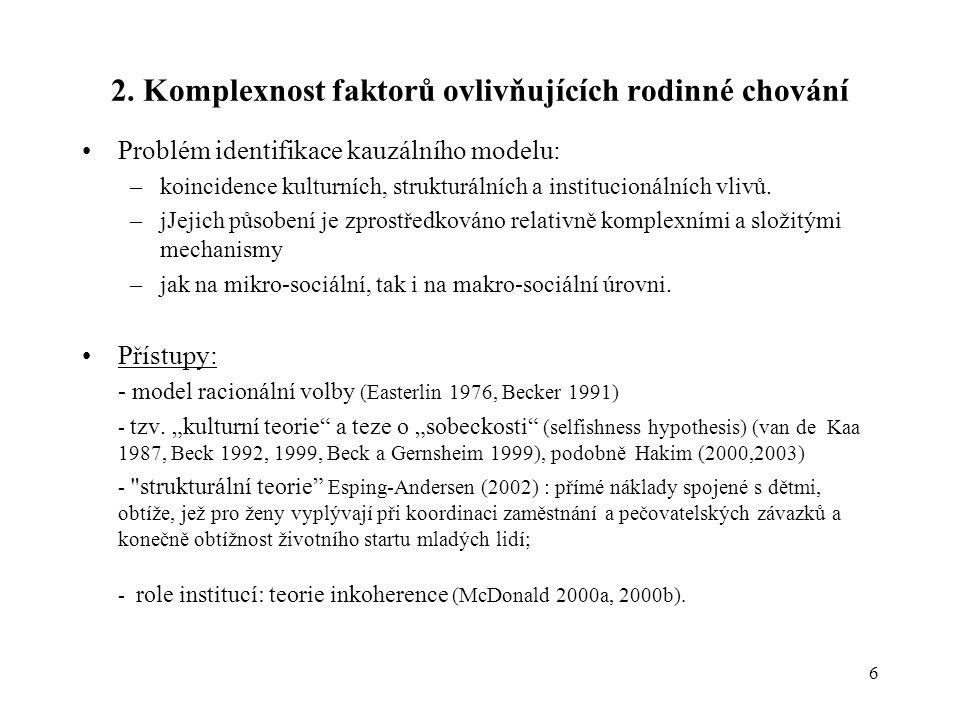 6 2. Komplexnost faktorů ovlivňujících rodinné chování •Problém identifikace kauzálního modelu: –koincidence kulturních, strukturálních a institucioná