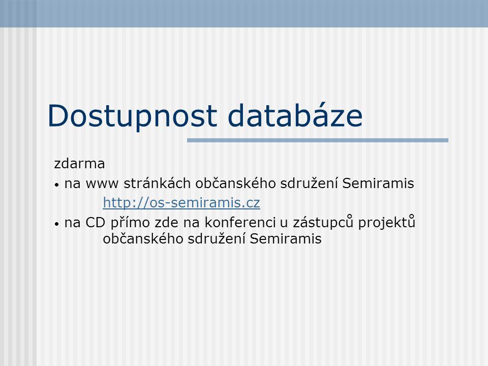 Dostupnost databáze zdarma • na www stránkách občanského sdružení Semiramis http://os-semiramis.cz • na CD přímo zde na konferenci u zástupců projektů