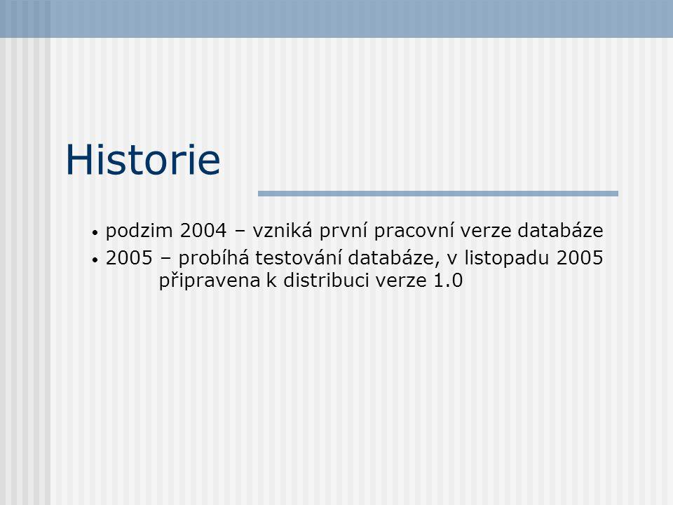 Historie • podzim 2004 – vzniká první pracovní verze databáze • 2005 – probíhá testování databáze, v listopadu 2005 připravena k distribuci verze 1.0