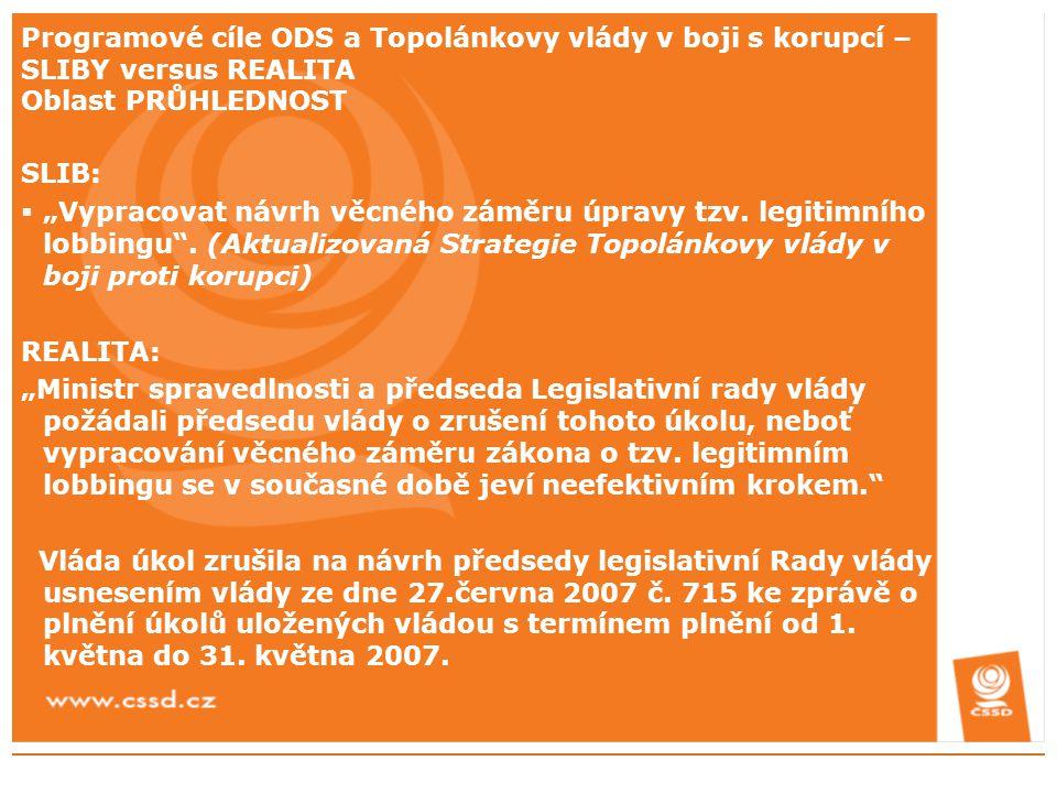 """Programové cíle ODS a Topolánkovy vlády v boji s korupcí – SLIBY versus REALITA Oblast PRŮHLEDNOST SLIB:  """"Vypracovat návrh věcného záměru úpravy tzv."""
