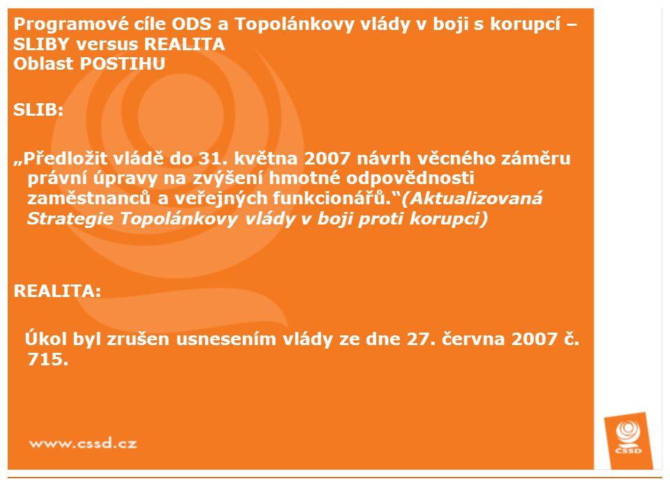 """Programové cíle ODS a Topolánkovy vlády v boji s korupcí – SLIBY versus REALITA Oblast POSTIHU SLIB: """"Předložit vládě do 31. května 2007 návrh věcného"""