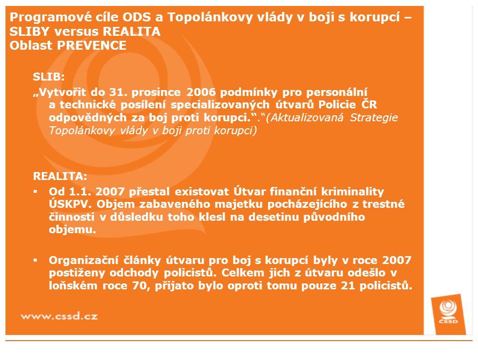 """Programové cíle ODS a Topolánkovy vlády v boji s korupcí – SLIBY versus REALITA Oblast PREVENCE SLIB: """"Vytvořit do 31. prosince 2006 podmínky pro pers"""