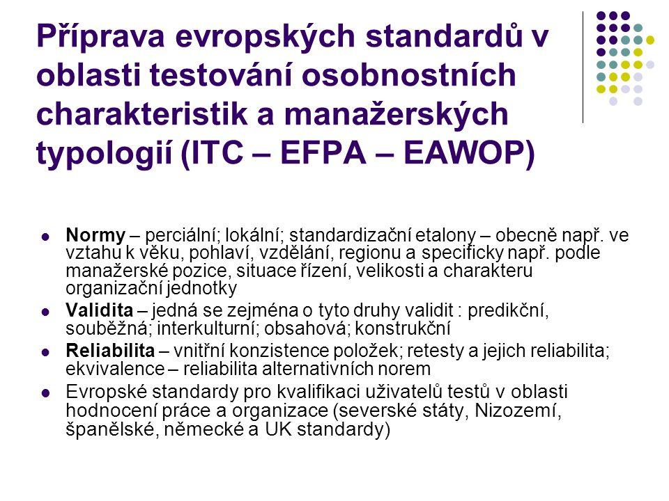 Příprava evropských standardů v oblasti testování osobnostních charakteristik a manažerských typologií (ITC – EFPA – EAWOP)  Normy – perciální; lokální; standardizační etalony – obecně např.