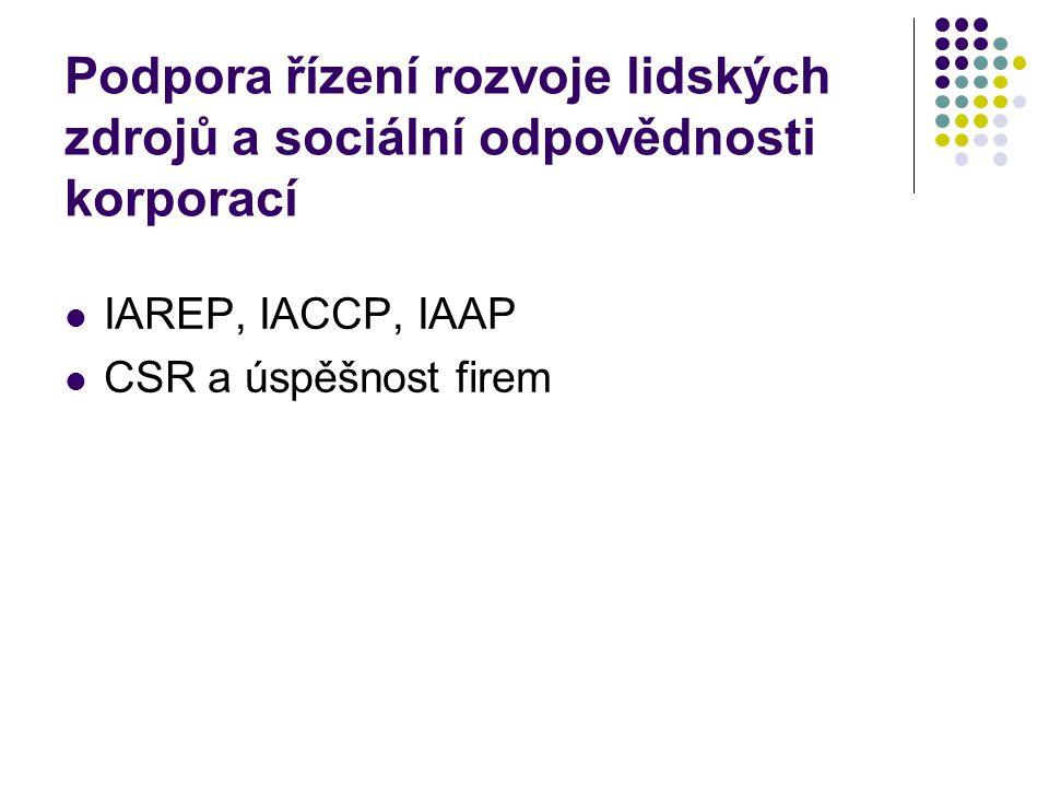 Podpora řízení rozvoje lidských zdrojů a sociální odpovědnosti korporací  IAREP, IACCP, IAAP  CSR a úspěšnost firem