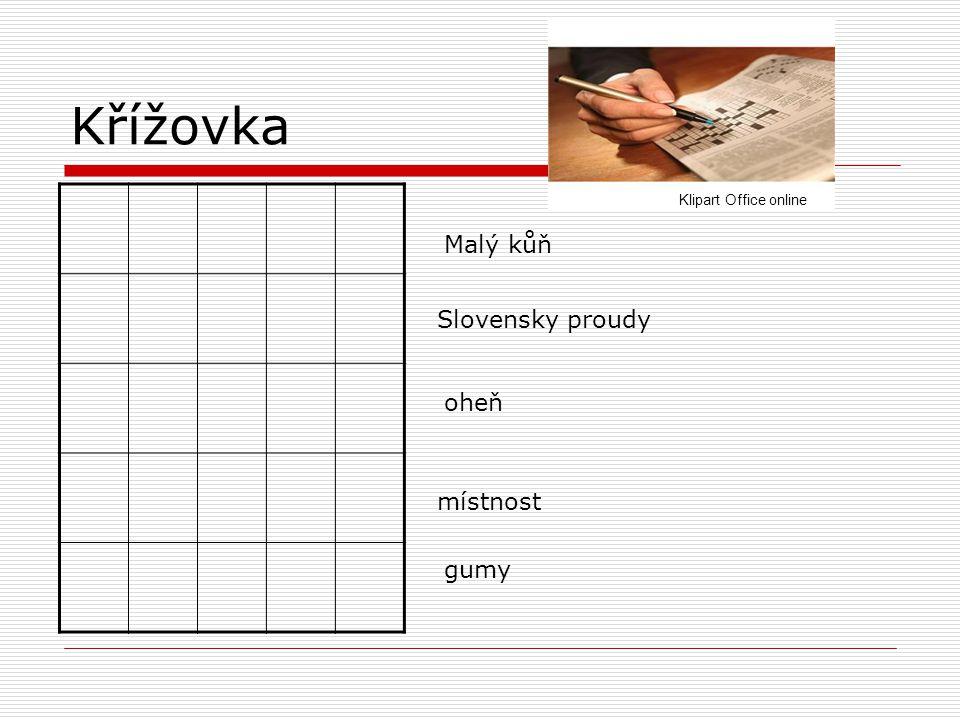 Křížovka Slovensky proudy místnost Malý kůň oheň gumy Klipart Office online