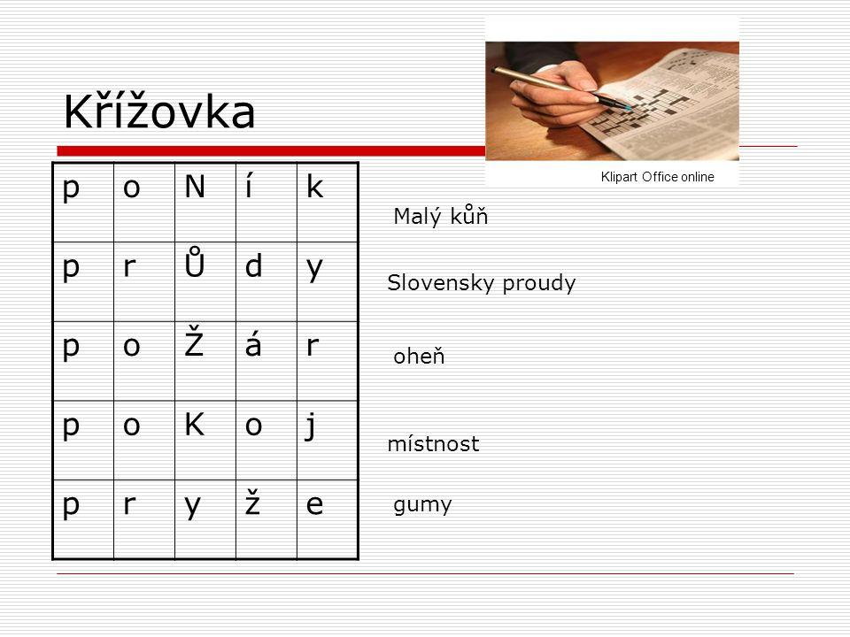 Křížovka Slovensky proudy místnost Malý kůň oheň gumy poNík prŮdy poŽár poKoj pryže Klipart Office online