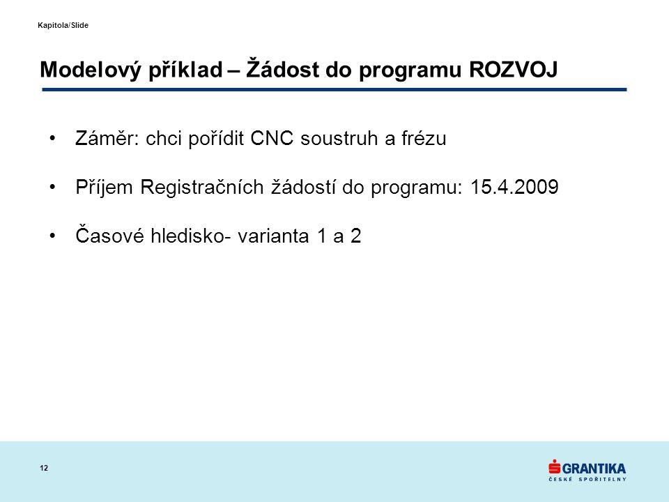 12 Kapitola/Slide Modelový příklad – Žádost do programu ROZVOJ •Záměr: chci pořídit CNC soustruh a frézu •Příjem Registračních žádostí do programu: 15