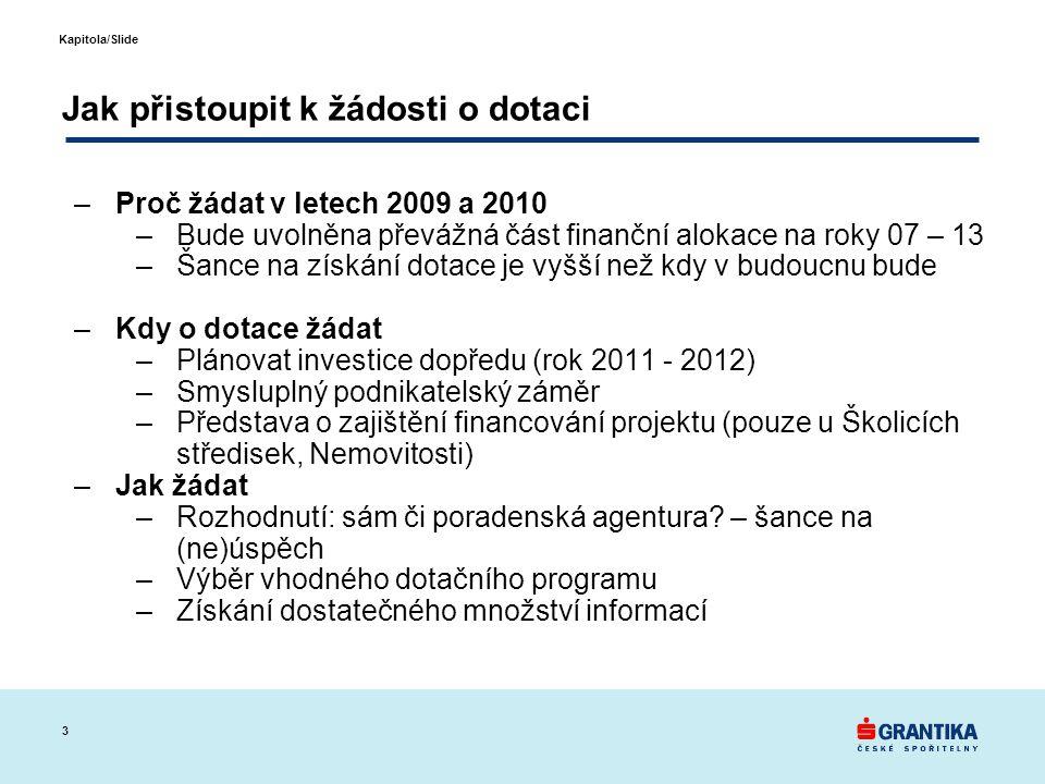 3 Kapitola/Slide Jak přistoupit k žádosti o dotaci –Proč žádat v letech 2009 a 2010 –Bude uvolněna převážná část finanční alokace na roky 07 – 13 –Šan