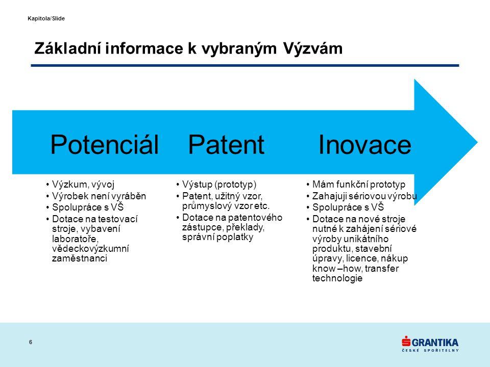 6 Kapitola/Slide Základní informace k vybraným Výzvám •Mám funkční prototyp •Zahajuji sériovou výrobu •Spolupráce s VŠ •Dotace na nové stroje nutné k