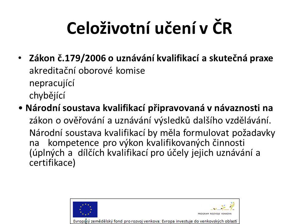 Celoživotní učení v ČR • Národní strategie CŽU v ČR ( MŠMT 2007) poprvé definující v ČR celoživotní učení jako nekončící proces v Evropském kontextu • Slabými stránkami jsou nízká účast dospělých ve všech formách dalšího vzdělávání, ale také, malé stimuly pro účast dospělých na vzdělání.