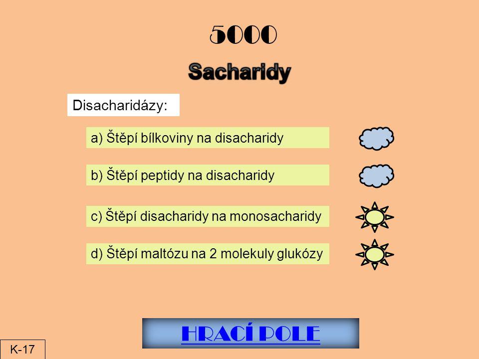 HRACÍ POLE 5000 Disacharidázy: a) Štěpí bílkoviny na disacharidy b) Štěpí peptidy na disacharidy c) Štěpí disacharidy na monosacharidy d) Štěpí maltózu na 2 molekuly glukózy K-17