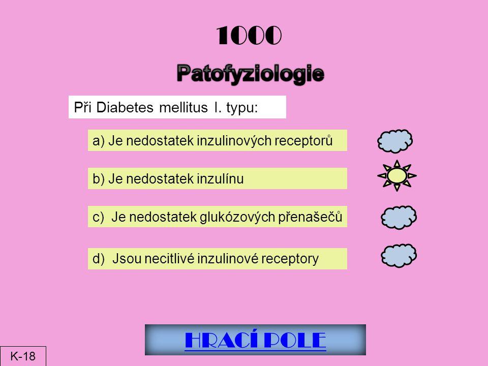 HRACÍ POLE 1000 Při Diabetes mellitus I.