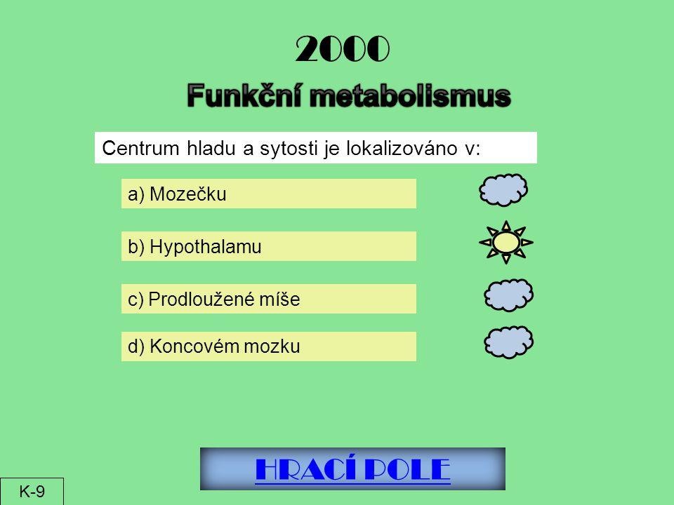 HRACÍ POLE 2000 Centrum hladu a sytosti je lokalizováno v: a) Mozečku c) Prodloužené míše b) Hypothalamu d) Koncovém mozku K-9