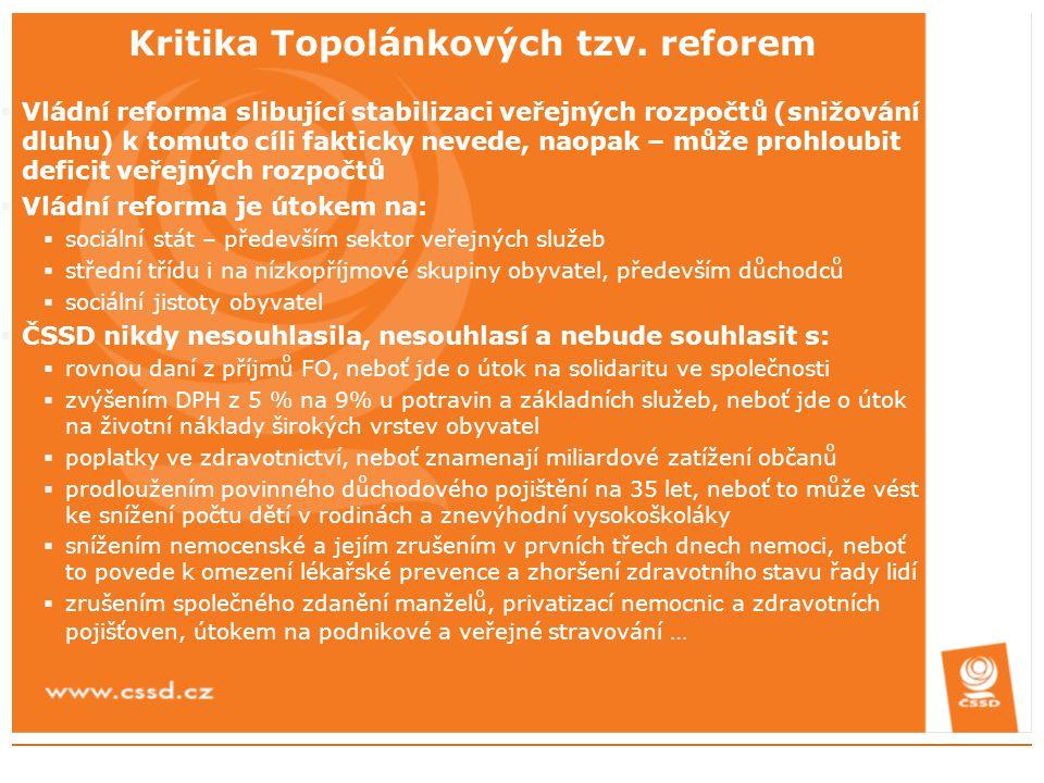 Kritika Topolánkových tzv. reforem  Vládní reforma slibující stabilizaci veřejných rozpočtů (snižování dluhu) k tomuto cíli fakticky nevede, naopak –