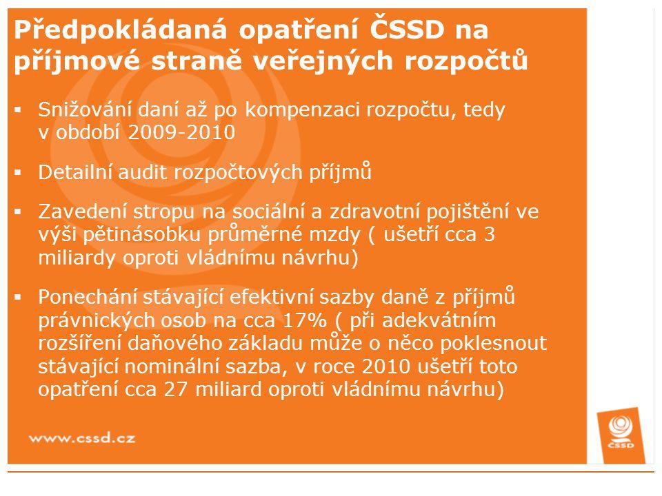 Předpokládaná opatření ČSSD na příjmové straně veřejných rozpočtů  Snižování daní až po kompenzaci rozpočtu, tedy v období 2009-2010  Detailní audit