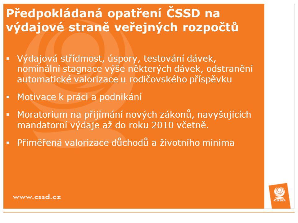Předpokládaná opatření ČSSD na výdajové straně veřejných rozpočtů  Výdajová střídmost, úspory, testování dávek, nominální stagnace výše některých dáv
