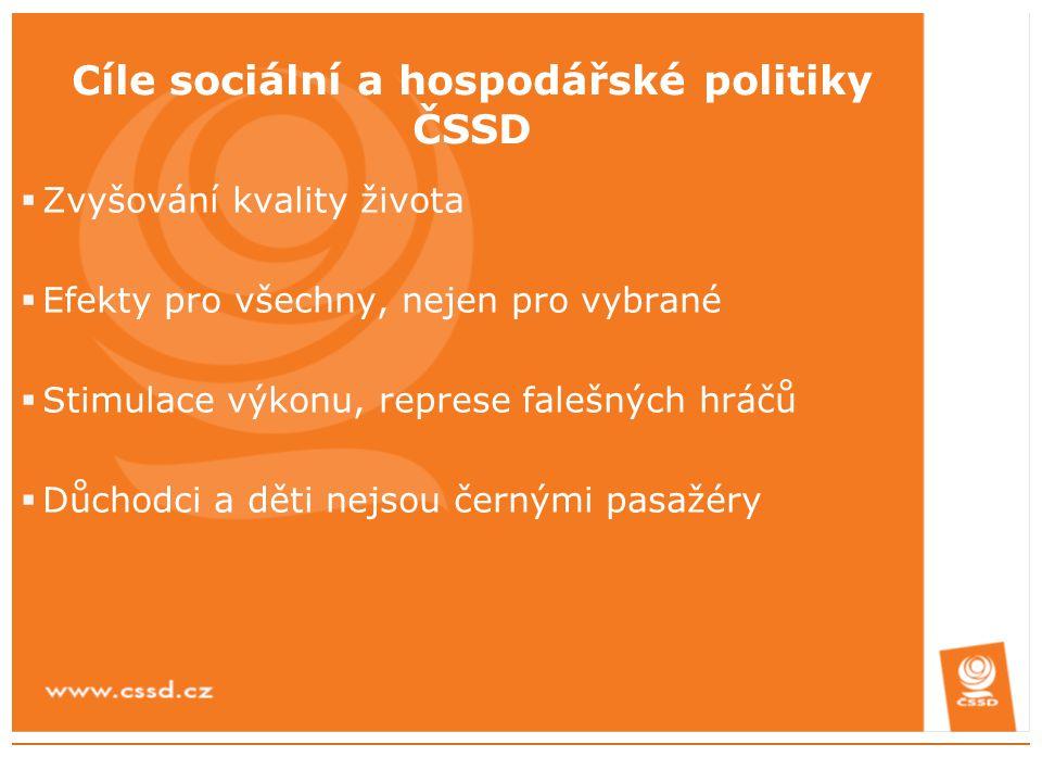 Cíle sociální a hospodářské politiky ČSSD  Zvyšování kvality života  Efekty pro všechny, nejen pro vybrané  Stimulace výkonu, represe falešných hrá