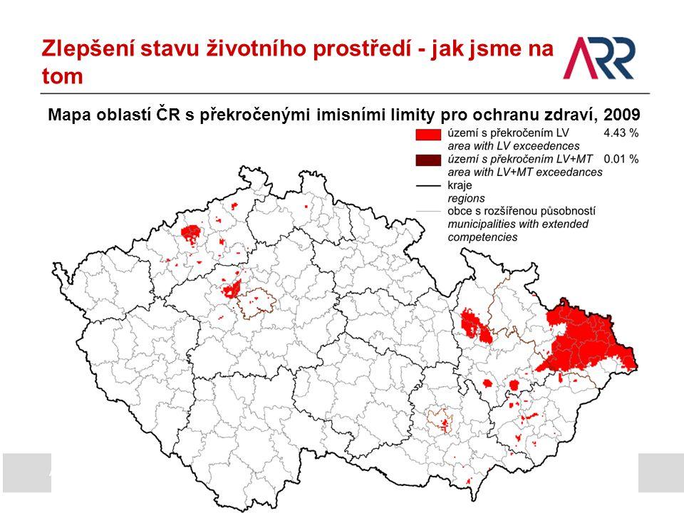 Zlepšení stavu životního prostředí - jak jsme na tom Mapa oblastí ČR s překročenými imisními limity pro ochranu zdraví, 2009